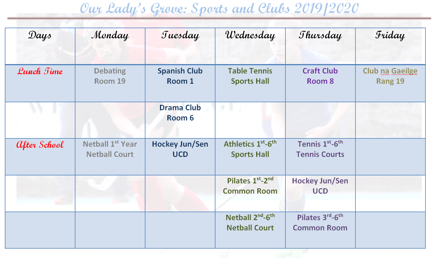 Clubs and Sports Timetable 2019