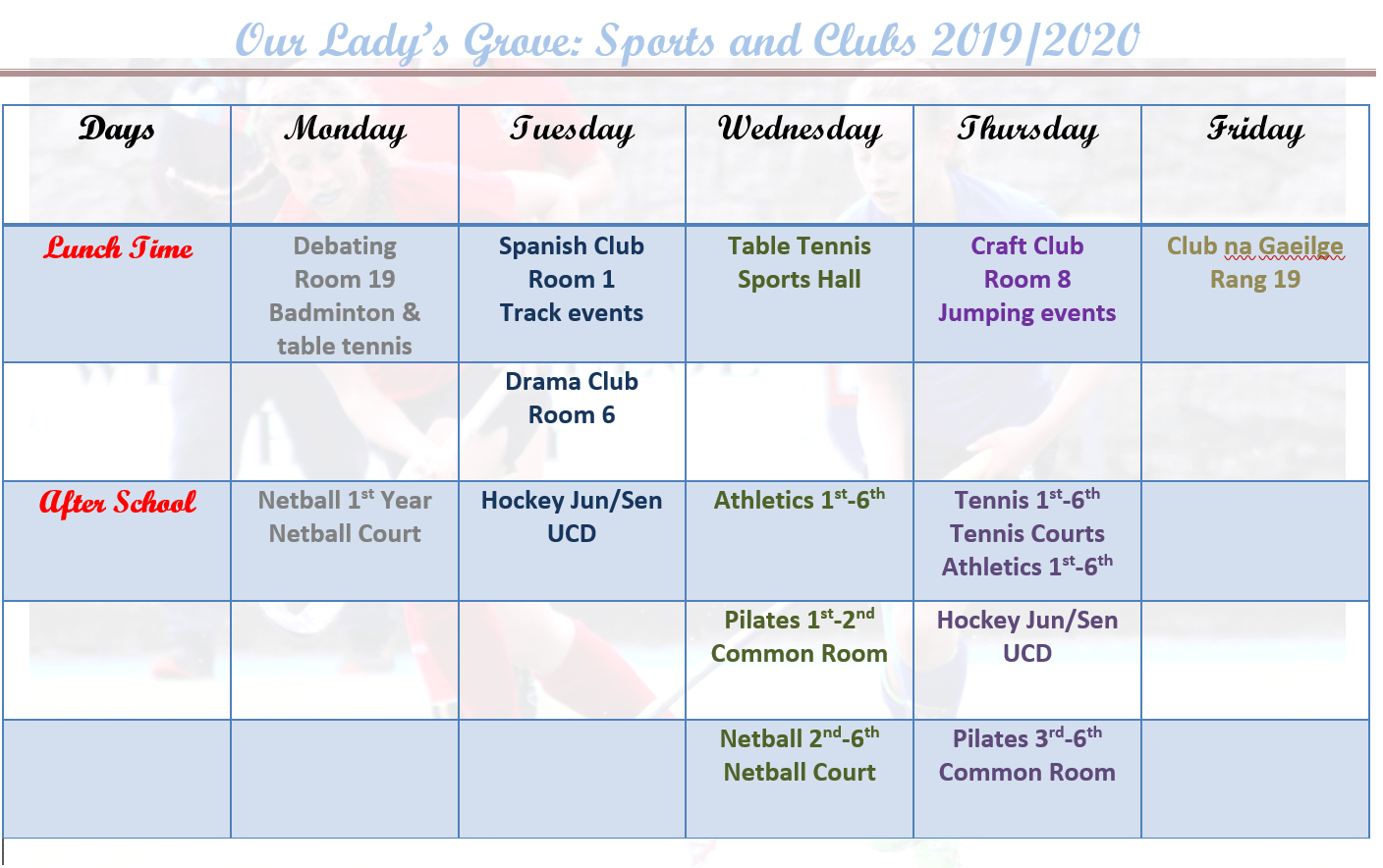 Clubs and Sports Timetable 2020